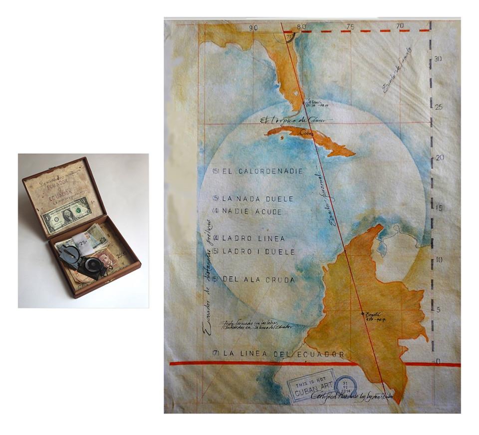 """La Linea del Ecuador 2015 Map and box  Mixed media 30""""x 30""""x 12"""""""