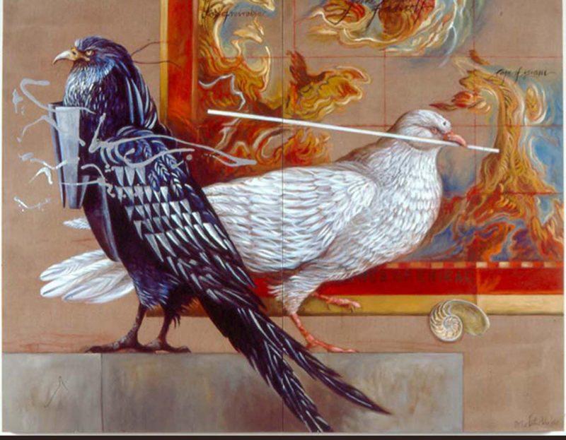 A guardian eagle and a dove of peace